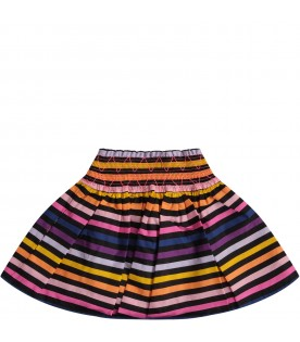 Multicolor girl skirt with logo