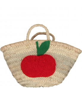 Beige girl bag with apple