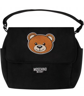 Black babykids changing bag with Teddy Bear