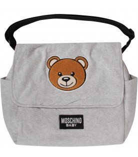 Grey babykids changing bag with Teddy Bear