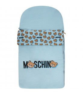 Light blue babyboy sleeping bag with logo