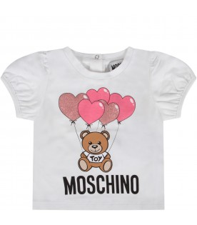White babygirl T-shirt with Teddy Bear and balloons