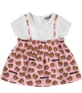 White and pink babygirl dress with teddy bears