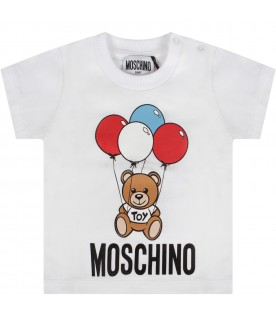 White babyboy T-shirt with Teddy Bear and balloons