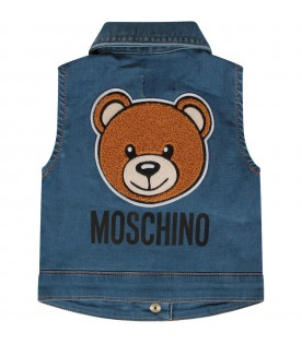 Denim babykids vest with Teddy Bear