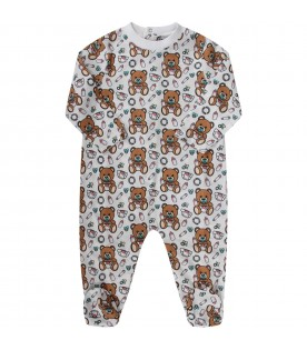 White babykids babygrow with baby Teddy Bear