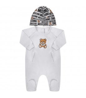 White babykids set with Teddy Bear and logo