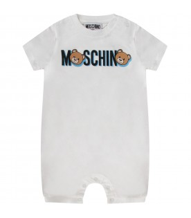 White and light blue babyboy set with Teddy Bear and logo