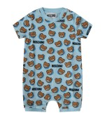 Moschino Kids White and light blue babyboy set with Teddy Bear and logo