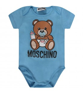 Light blue and white babyboy set with baby Teddy Bear