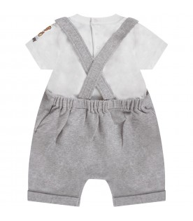 Grey and white babykids suit with teddy bear