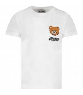 White kids T-shirt with Teddy Bear