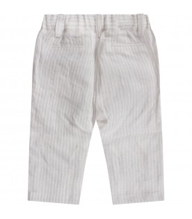 White and beige pants for baby boy with iconic eagle