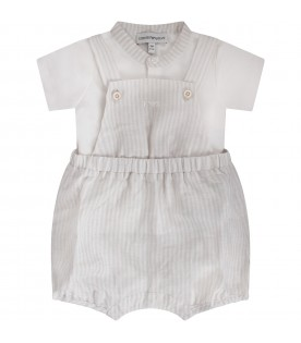 White and beige babyboy suit with iconic eagle