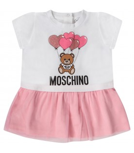 White babygirl dress with Teddy Bear and balloons