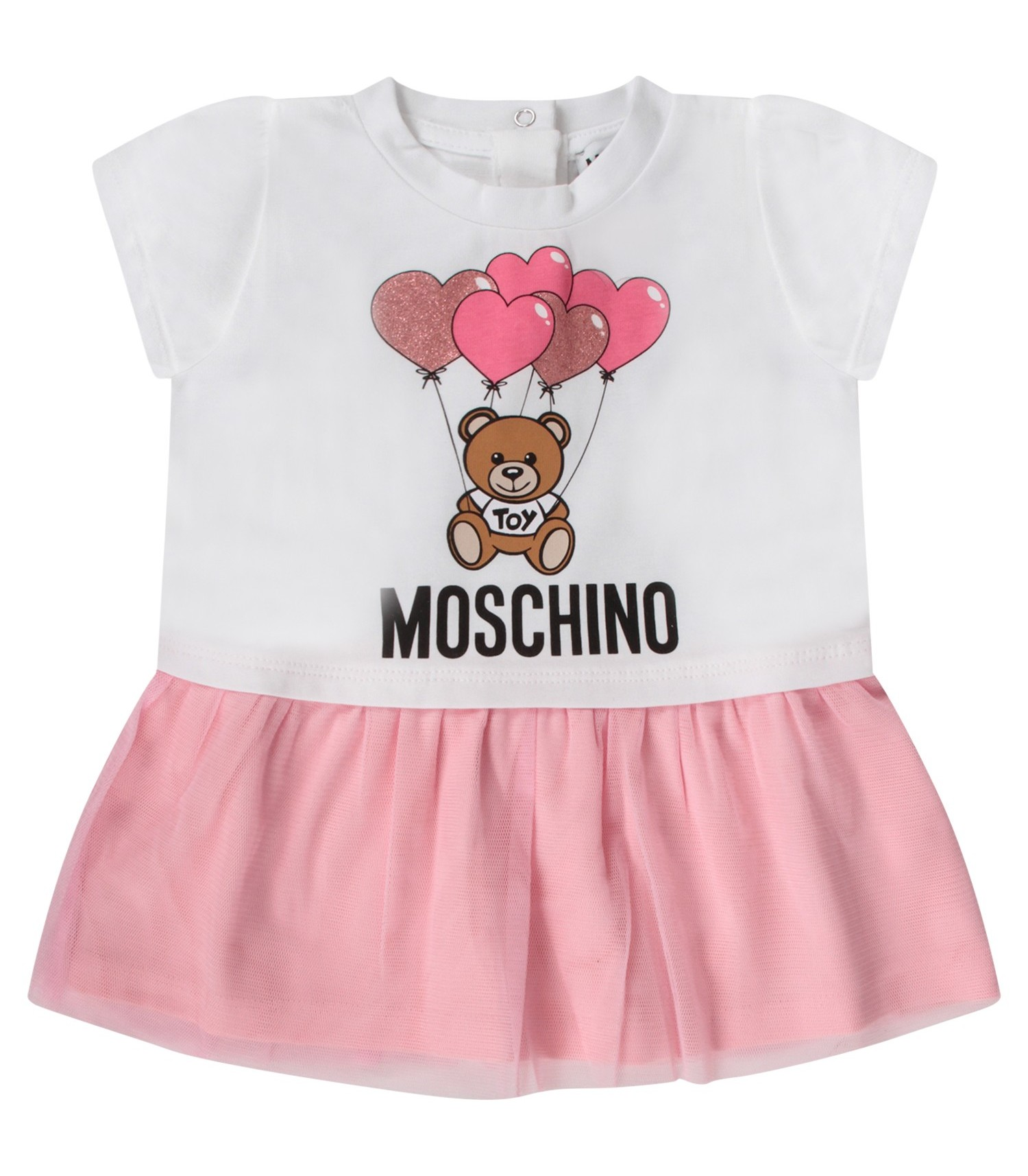 Moschino Kids White babygirl dress with Teddy Bear and balloons