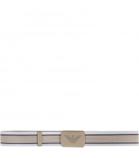 White, beige and black boy belt