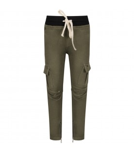 Military green boy cargo with iconic eyelets