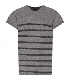 Grey boy T-shirt with stripes