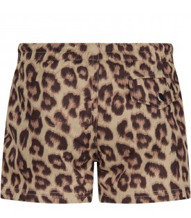 Beige boy swimsuit with animalier print