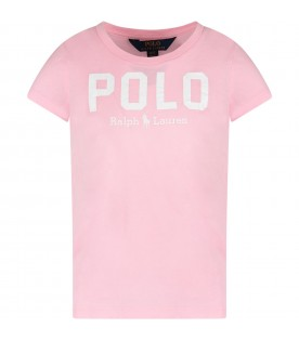 Pink girl T-shirt with white logo