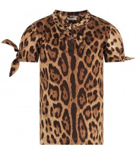 Brown girl T-shirt with animalier print