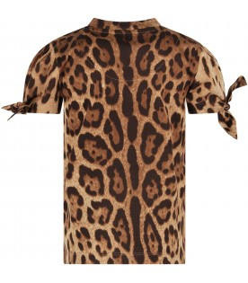 Brown T-shirt for girl with animalier print