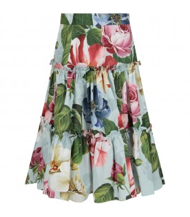 Light blue skirt for girl with colorful flowers