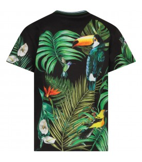 Black kids T-shirt with colorful exotic birds