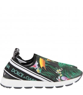 Black kids sneakers with toucans