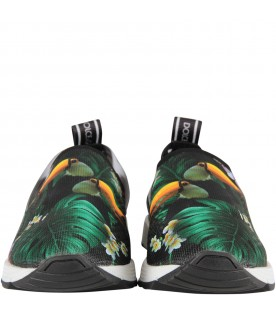 Black sneakers for girl with toucans