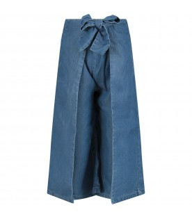 Denim girl pants with bow