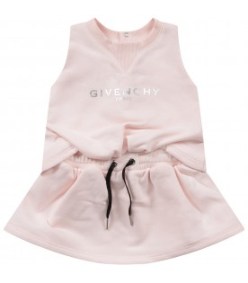 Pink babygirl dress with silver logo