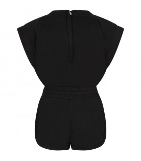 Black girl jumpsuit with white logo