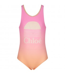 Multicolor swimsuit for girl with logo