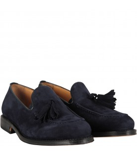 Blue boy mocassin with tassels