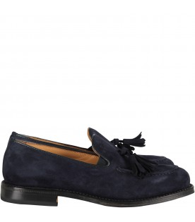 Blue mocassin with tassels for boy