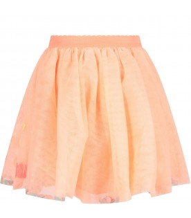 Apricot skirt for girl with colorful drawings