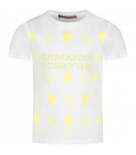 White girl T-shirt with neon yellow logo