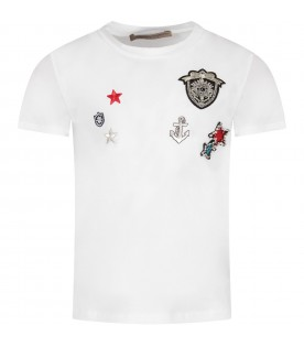 White girl T-shirt with colorful patches