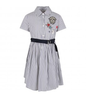 White and blue girl dress with patches