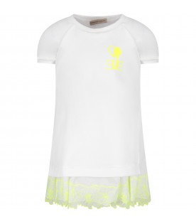 White girl dress with neon yellow logo