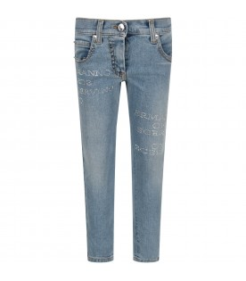 Light blue girl jeans with logo
