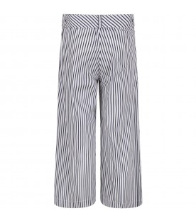White and blue girl pants with logo