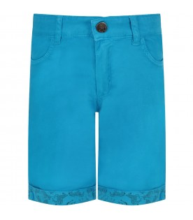 Azure boy short with iconic patch