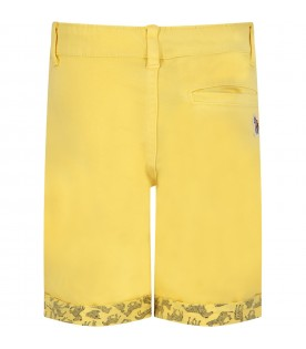 Yellow short for boy with iconic patch
