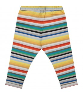 Multicolor babyboy leggings with logo