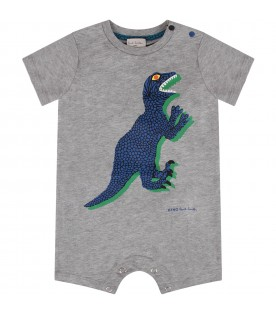 Grey babyboy romper with dinosuar