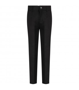 Black pants for boy with satin details