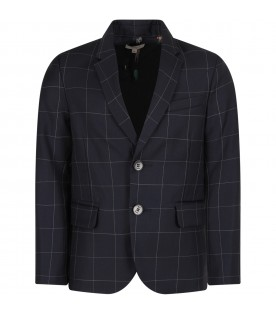 Blue jacket for boy with checks